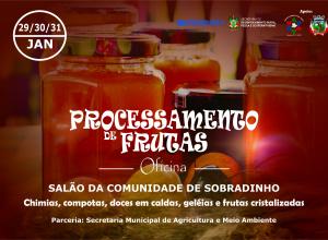 Oficina de processamento de frutas será ministrado em Dilermando de Aguiar