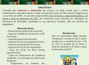 Secretaria de educação abre período de matrículas novas e rematrículas